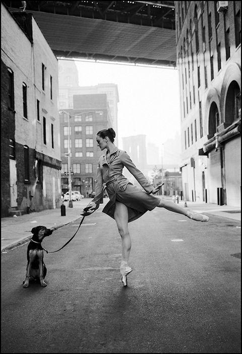 Ballerina taking dog for a walk. Ballerina project