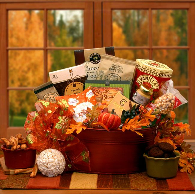 The Tastes Of Fall Gourmet Gift Basket ~ Send a Fall Greeting to family and friends with this Oval Planter filled with Traditional Popcorn Ball, Smoked Salami, Dipping Pretzels, Grained Mustard, Truffles and more!