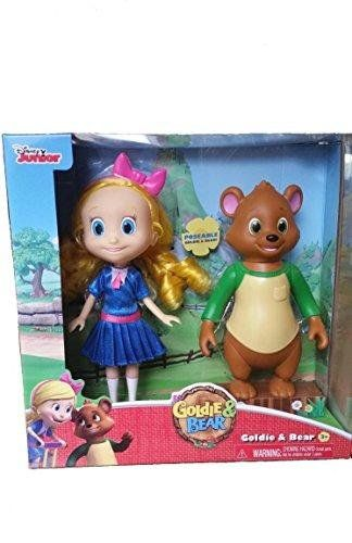 Disney Junior ~ Goldie and Bear ~ New Poseable Figures:   Goldie & Bear are ready to bring their fairytale adventures to playtime with our fun doll set! The Disney Junior duo come as detailed, poseable dolls - ready for hours of enchanted play.    Glittery blue dress with satin detail White socks and removable pink shoes Bear doll is fully sculpted and with green shirt Bear measures H20cm approx Goldie measures H24cm approx Ages 3 Years+