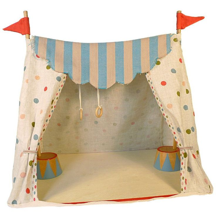 Welcome to the magical Maileg Circus! This trepezoid shape circus tent has a wooden floor board, wooden supporting poles and covered with lovely cotton fabric.