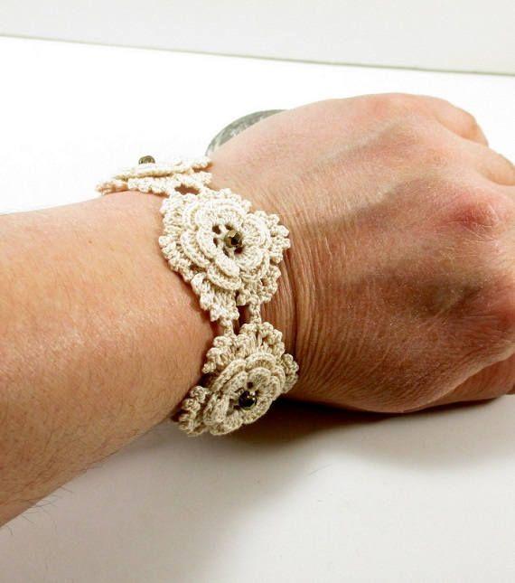 Beige crochet flower bracelet, Crochet bracelet, Flower bracelet, Crochet jewelry, Flower jewelry, Unique Bracelet, Crochet cuff bracelet by aysegulsstore on Etsy