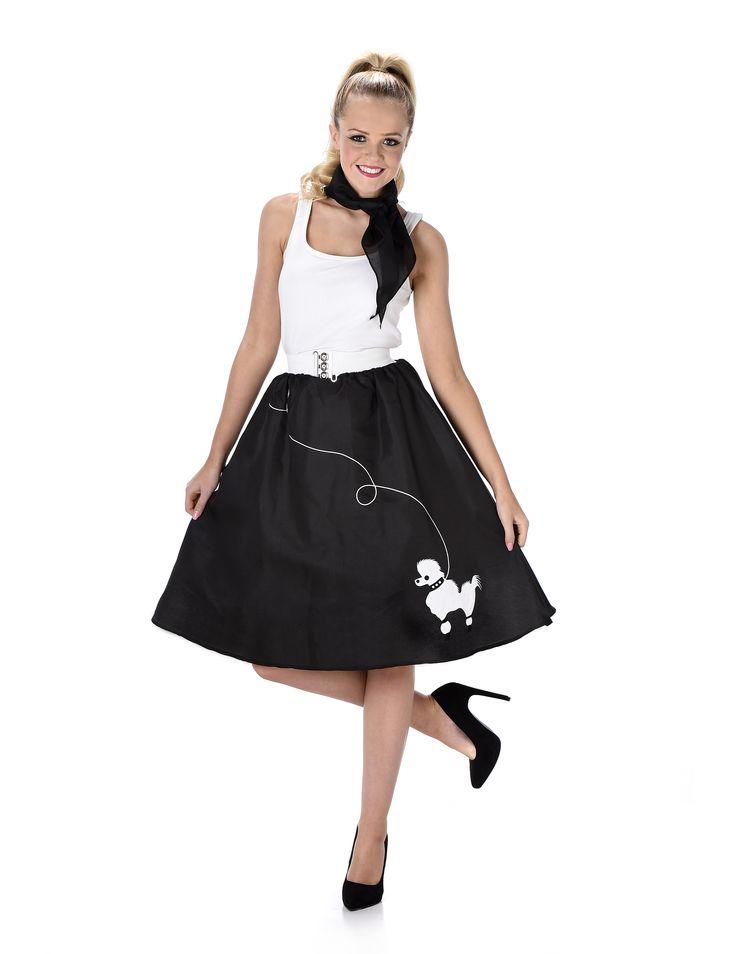 Disfraz años 50 negro mujer: Este disfraz está formado por una falda y un pañuelo (camiseta y zapatos no incluidos).La falda es negra con un perro blanco en la parte inferior. Tiene estilo retro.El cinturón...