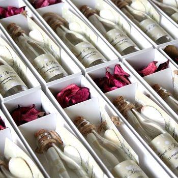 Wedding invitations in bottles