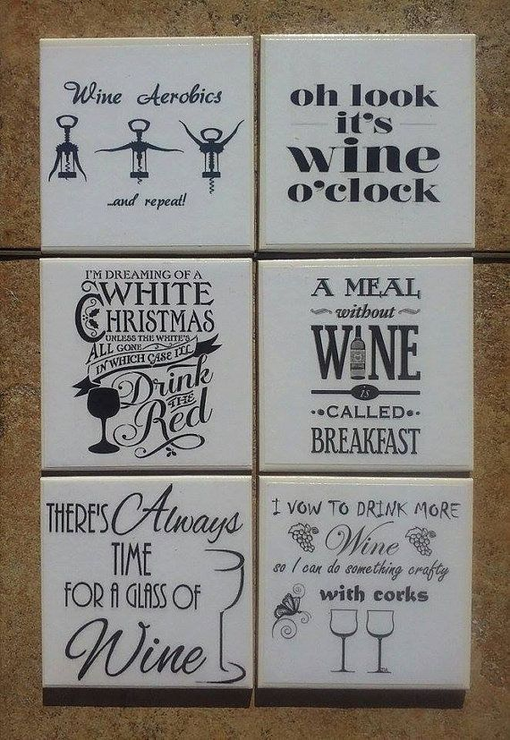 Choose four (4) coasters from six different wine humour designs. Please message me at time of ordering to let me know which four designs you choose. All six (6) designs can be purchased for $21.00. Please message me and I will set up a separate personal listing for this option.  Each coaster is 4.25 x 4.25.  These coasters are hand-crafted using printed images and decoupage medium, then sprayed with several coats of acrylic sealant. The backs of the tiles have a cork backing to protect your…