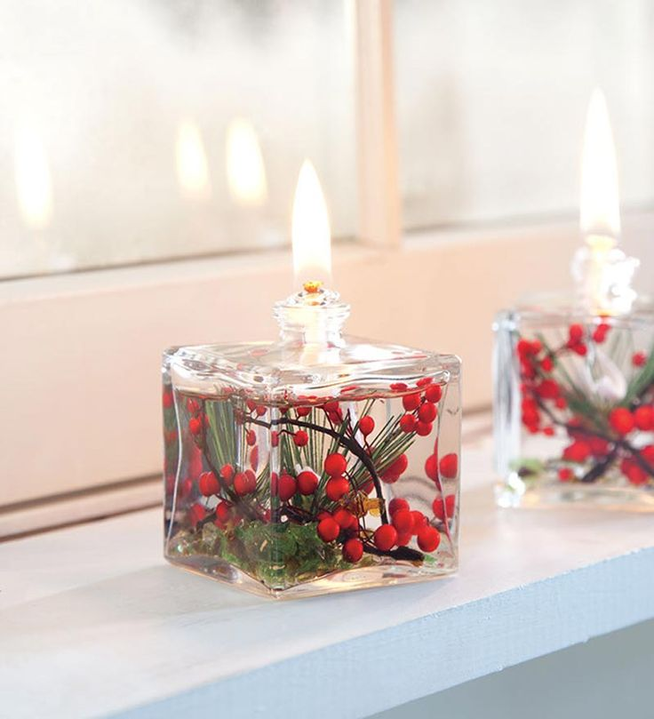 "GOOD IDEA--UPCYCLE BEAUTIFUL OLD PERFUME BOTTLES.....    Red Berries Cube Oil Candle  • Lifetime fiberglass wick  • Smokeless, odorless liquid paraffin  • Won't fade  Size  3-1/4""H x 2-1/4""W"