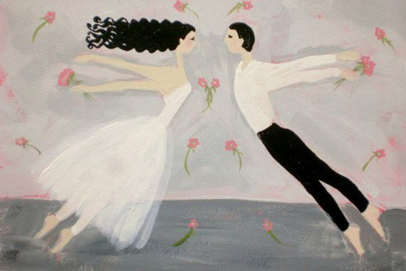 Flying Girl and the Dance or Pas De Deux limited by rowenamurillo. This hit the etsy front page yesterday, so I thought I'd share it here. Plus, it fits for the season.