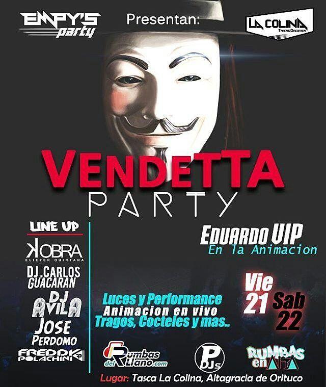 - Señores #AltagraciaDeOrituco arranca este viernes 21 y sábado 22 con la mega rumba #VendettaParty  . en tu tasca favorita #LaColina  con la mega animación de #EduardoVIP  además  contara  con un LineUP de lujo!  . . te lo recomienda   @empysparty @RumbasEnAlta @portaldedjsoficial @rumbasdelllano ETIQUETA A TUS PANAS - .  #cartujo #caña #rumbas #humor #tepaso #chiste #humorgrafico #altagracia #elcambo #venezuela #guarico #like #lademencia #love #RumbasEnAlta #amigos #happy #dj #anis…