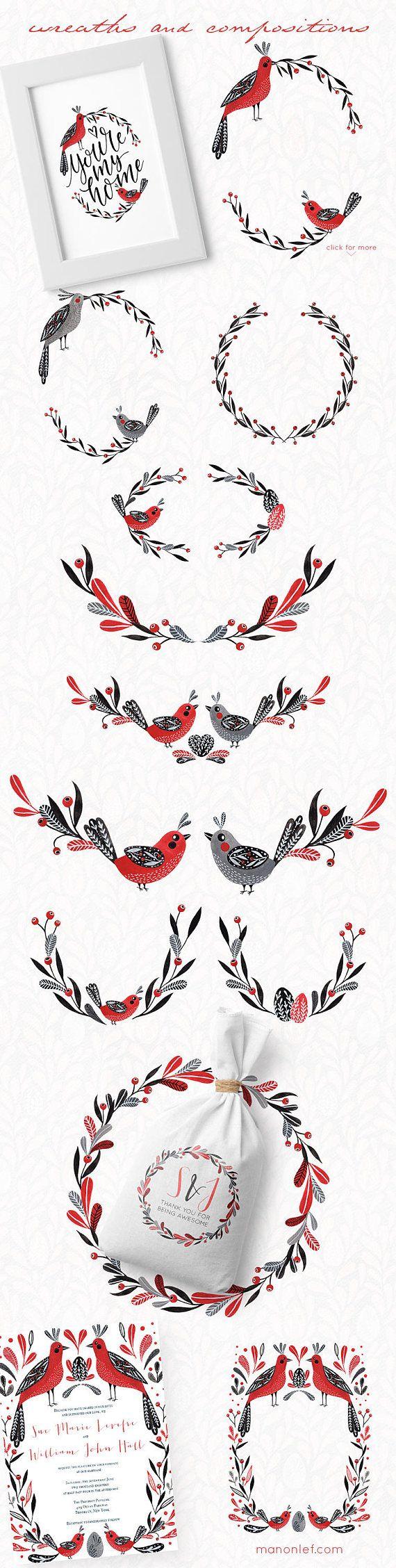 folk clipart birds clipart wreath clipart easter graphics