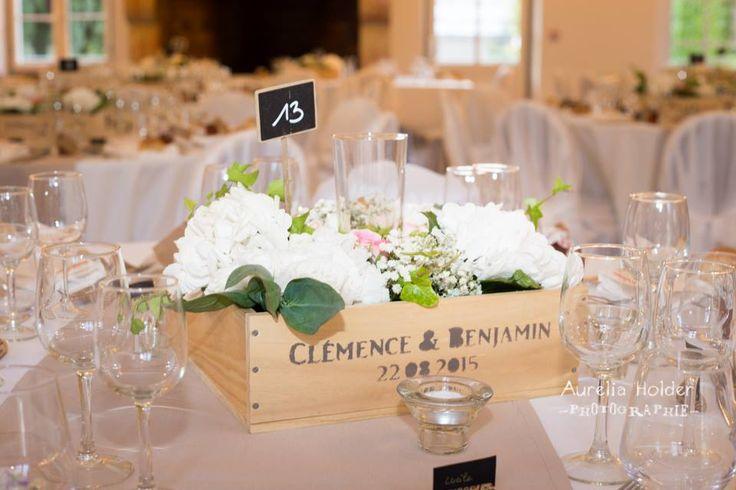 centre de table caisse de vins #vignoble #bougies #photophore