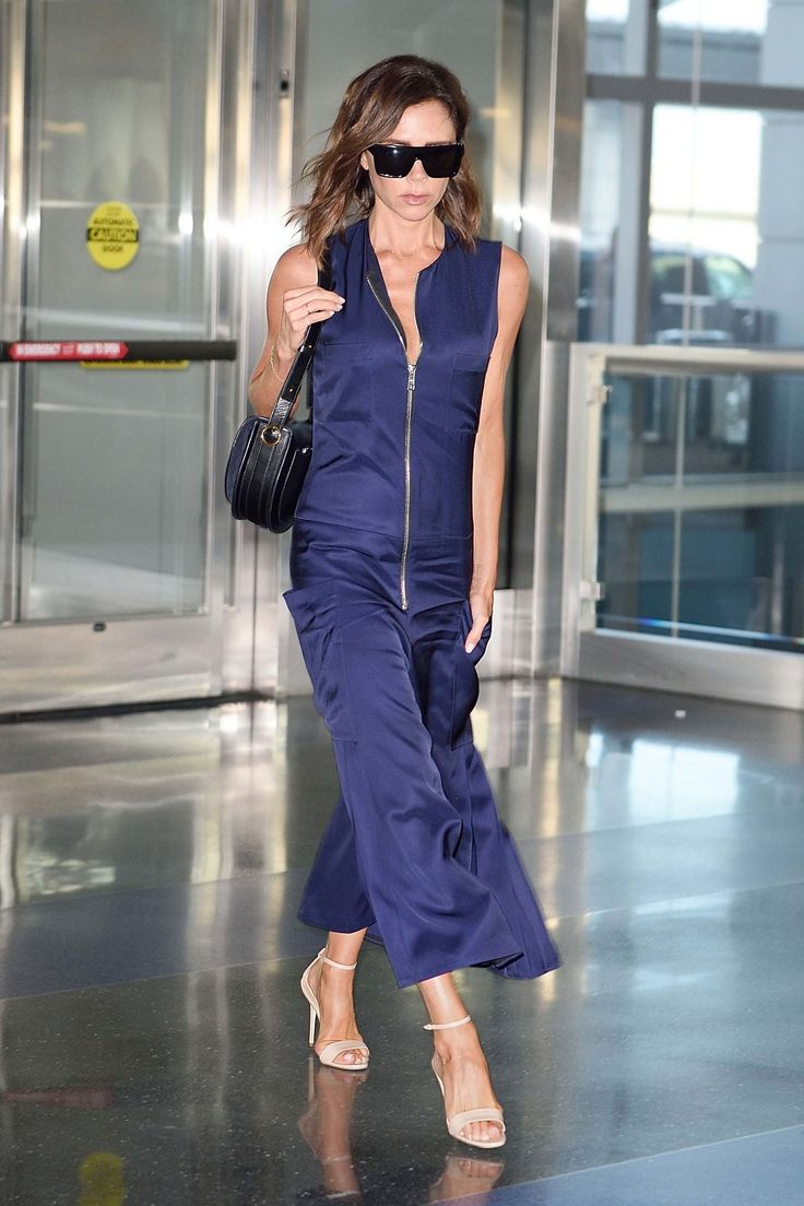 Victoria Beckham in a flight-friendly jumpsuit. The free-flowing one-piece 1eb4ca42b588