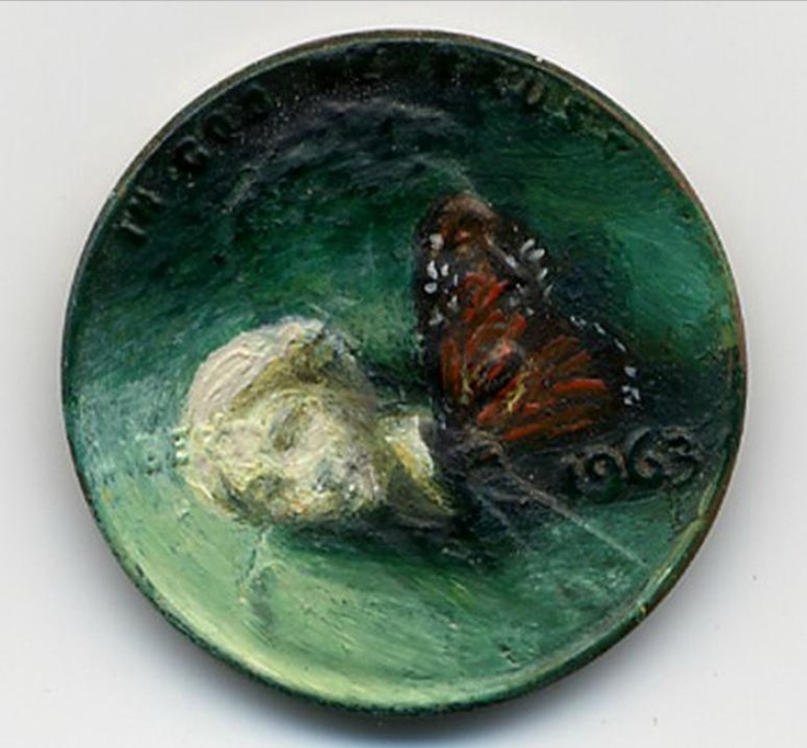 Venus Dreams, 1963 oil on penny    http://jacquelinelouskaggs.com/section/192725_Tondi_observations.html