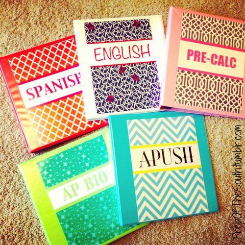 make cute binders for school