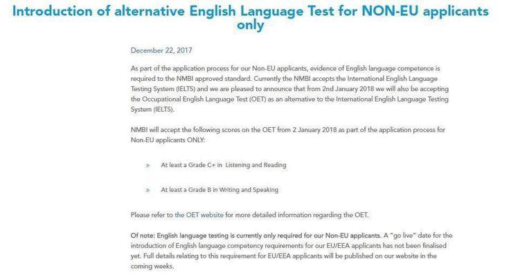 #Ireland_Nursing_Council (#NMBI) Approveട #OET അയർലണ്ടിലേക്ക് അവസരങ്ങൾ തേടുന്നവർക്ക് സന്തോഷ വാർത്തയാണ് OET (Occupational English Test) NMBI അംഗീകരിച്ചത്. ഇത് സംബന്ധിച്ച അറിയിപ്പ് Nursing & Midwifery Board of Ireland ന്റെ വെബ്സൈറ്റിൽ പ്രസിദ്ധീകരിച്ചിട്ടുണ്ട് 2 ജനുവരി 2018 മുതലാണ് IELTS നൊപ്പം തന്നെ OET യും അംഗീകരിക്കപ്പെടുന്നത്.