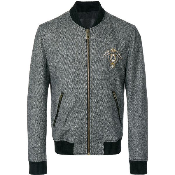 Dolce & Gabbana patch appliqué tweed bomber jacket ($2,245) ❤ liked on Polyvore featuring men's fashion, men's clothing, men's outerwear, men's jackets, grey, mens grey bomber jacket, mens leopard print jacket, mens gray leather jacket, mens tweed jacket and mens patch jacket