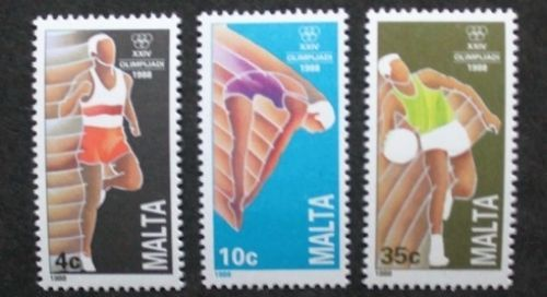 Olympic games in Seoul stamps, 1988, Malta, SG ref: 836-838, 3 stamp set, MNH