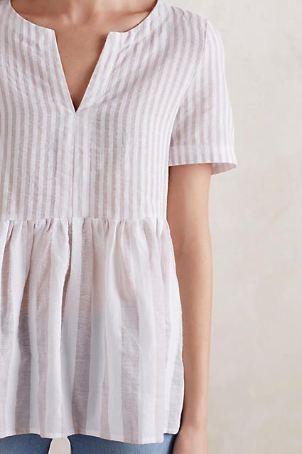 Vintage Stripe Peplum Top - anthropologie.com