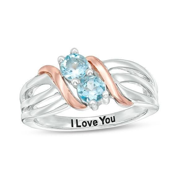 Zales Couples Oval Simulated Birthstone Wave Ring in Sterling Silver and 10K Rose Gold (2 Stones and 1 Line) e4jkaGi