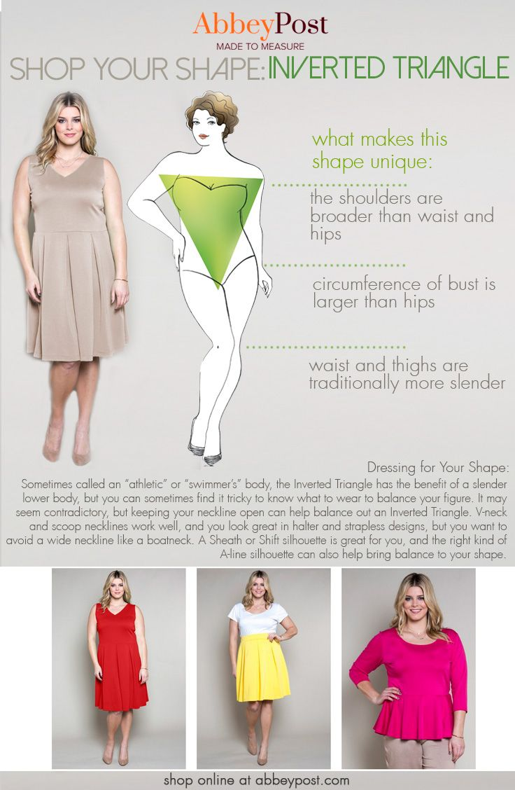 If your shoulders are more broad then your waistline, you could have an Inverted Triangle body shape! Unlock the key to looking great at any size by learning how to dress for your individual body shape.