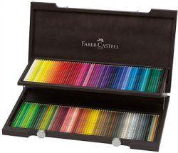 Maletín de madera color caoba con 120 lápices de colores Polychromos para artistas.