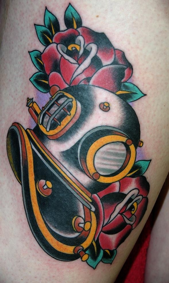tattoo old school / traditional nautic ink - helmet / dive mask / scuba