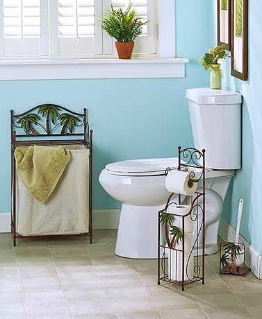 Tropical Palm Bathroom Storage