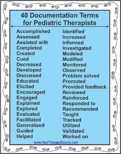40 Documentation Terms for Pediatric Therapists Repinned by SOS Inc. Resources http://pinterest.com/sostherapy.