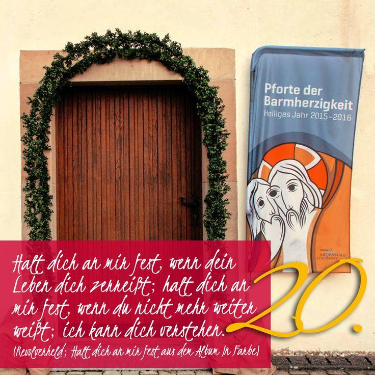 Zitat zum Advent von Revolverheld; Halt dich an mir fest aus Album In Farbe, Kirchentüre: Unsere liebe Mutter im Nussbaum Höchstberg in Baden-Württemberg