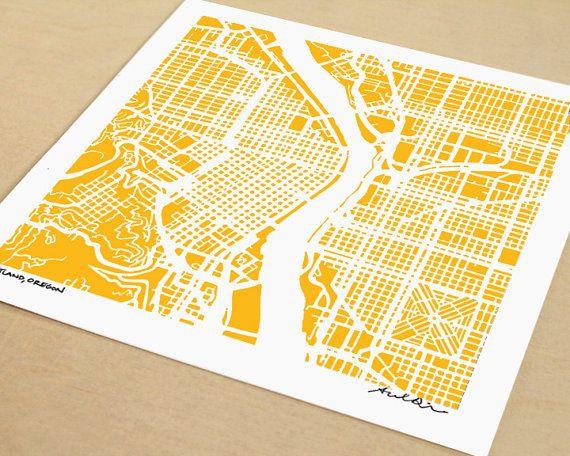 Map of Portland Oregon Portland Print Hand Drawn 8x8 by SaltyLyon, $20.00