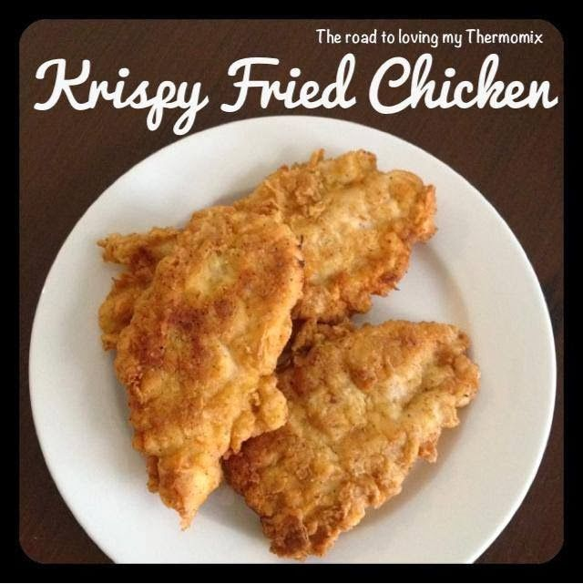 I didn't have any breadcrumbs in the freezer and no bread left to make any so I experimented tonight. This is my take on krispy fried chicken.&