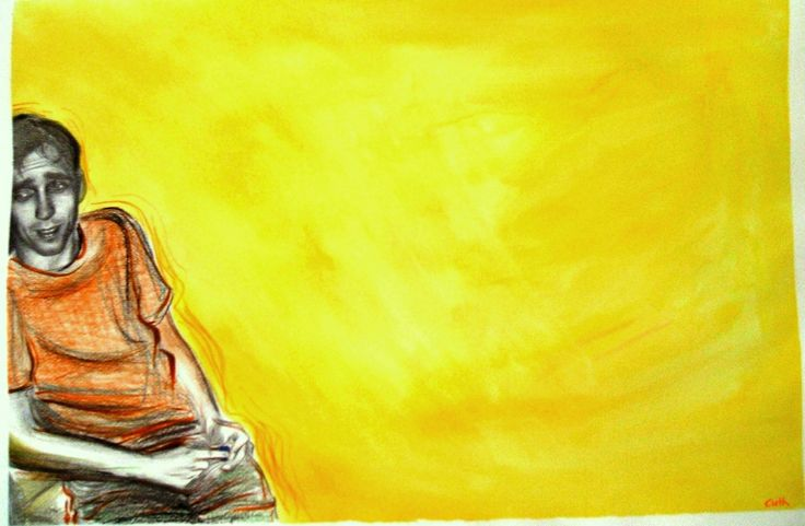 "Contemporary Drawing - ""Miki/Yellow"" (Original Art from Emese Cuth)"