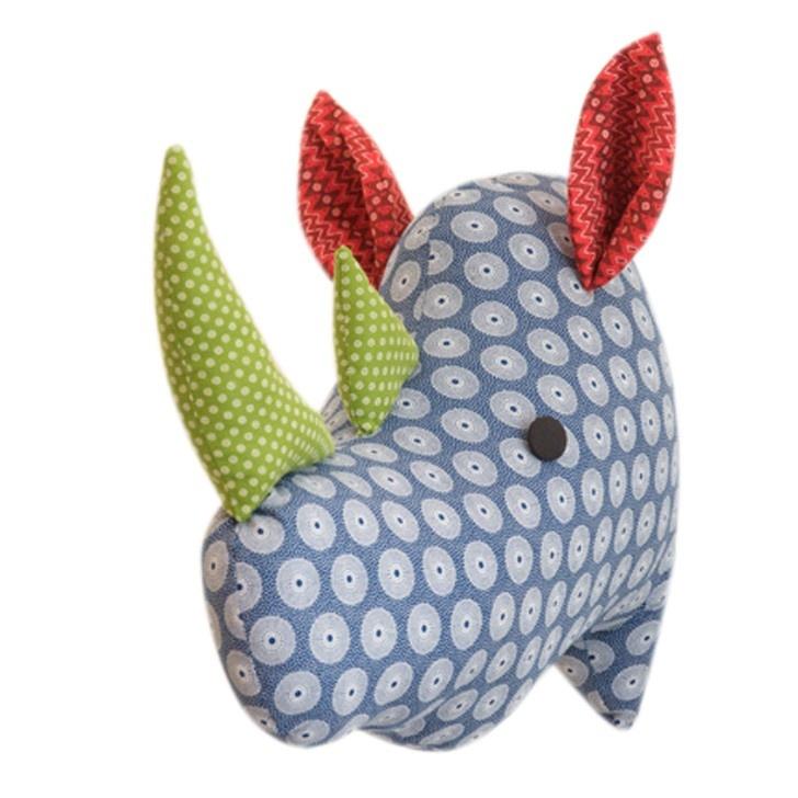 'Naka the Rhino' wall trophy by HankiDori, made with DaGama Shweshwe fabrics