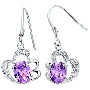 Elegant Silver Plated Silver With Purple Cubic Zirconia Hollow Out Drop Women's Earring – USD $ 7.39
