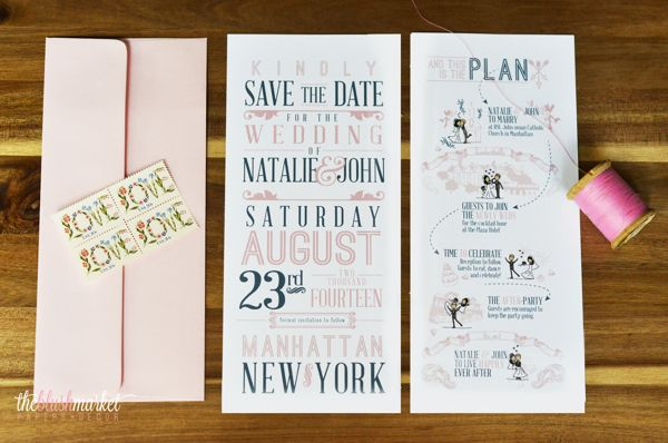 Trifold Save the Date - The Blush Market by Debora Parentes, via Behance