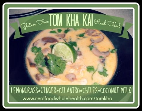 Hooray! Homemade Tom Kha Kai- full of nutrient-dense real food instead of processed restaurant ingredients! Gluten (egg, dairy, nut) free, too!