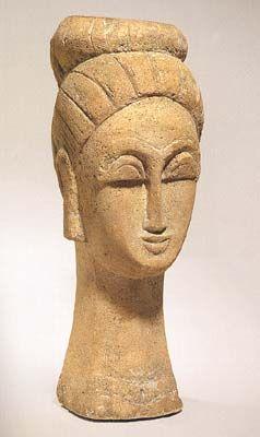 Amedeo Modigliani Tête de Femme (au Chignon) 1911-12 sandstone height: 22 1/2 in. from the Smooke Collection sale at Phillips, Nov. 5, 2001 (Ceroni IX)