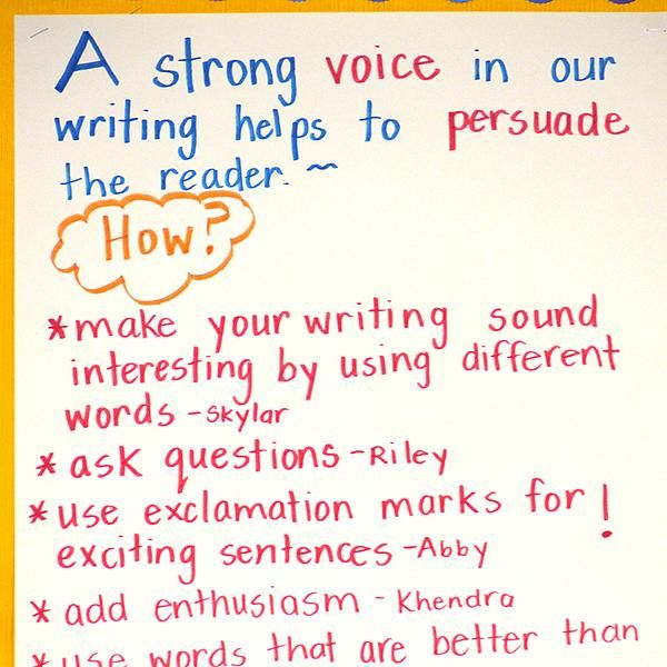 INSTRUCTION This is an instructional strategy that displays students' understandings of different writing processes and strategies. The teacher uses chart paper to writes prompts on the strategy or process, and the students tell her what they know about it, and the teacher records their answers. This allows students and teachers to review what they know, and provides opportunity to review what they still need to work on.