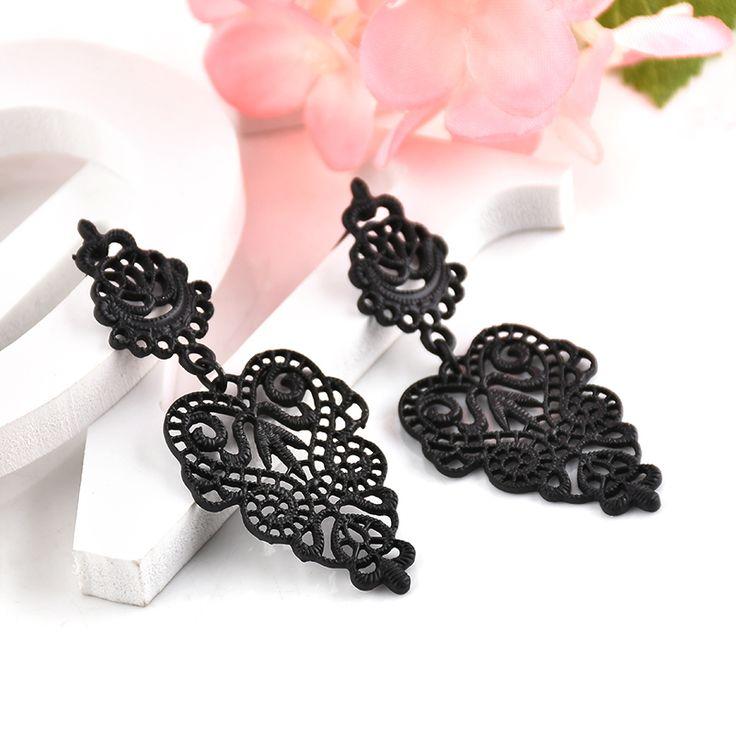 Fashion New Style Black Metal Hollow Leaf Shape Earring Bohemia Women Girl Party Retro Earring Jewelry