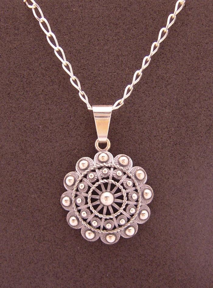 charro button pendant with chain sterling silver 925