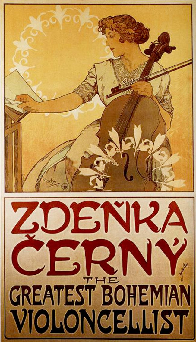 Zdeňka Černý (1913). Alphonse Mucha (1860-1939). Art Nouveau lithograph. In 1906 Mucha lodged with A.V. Černý, a Professor of Music. Mucha befriended seven year old daughter Zdeňka, and promised to paint her portrait when she became a virtuoso concert artist. He did so, when she was 16, and it formed the basis of for this poster advertising a 1914-1915 European tour. The tour was cancelled when war broke out but the poster remains as a testament to the artist's friendship with the Černý…