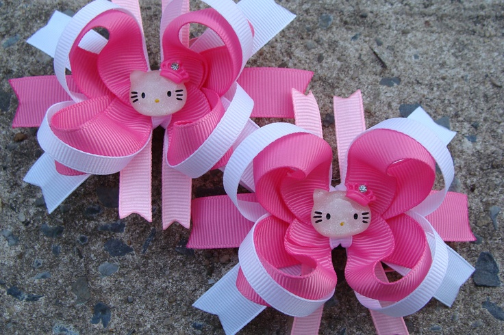 Hello Kitty Boutique Hair Bows Set Mini Boutique Hair Bow Set Pigtail Hair Bow Hello Kitty Hair Bow Set of 2