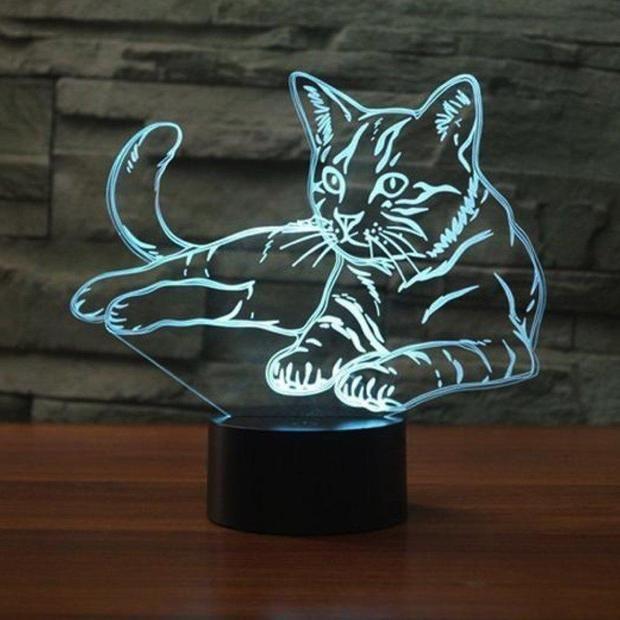 Lampe 3d Chat Lampe 3d Lampe Chat Decoration Animale