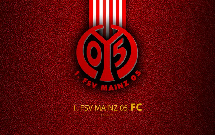 Download wallpapers FSV Mainz 05 FC, 4k, German football club, Bundesliga, leather texture, Mainz emblem, logo, Mainz, Germany, German Football Championships