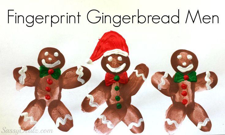 DIY Fingerprint gingerbread man craft for kids! Super cute christmas art project using paint. | SassyDealz.com
