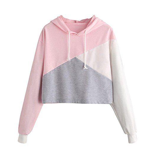 ba49480a4d837 LEvifun Women Teen Girls Hoodie Cute Croptop Crop Top Patchwork Clothes  Blouse Pullover Shirt (Pink