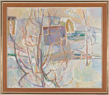 ALEXANDER SCHULTZ KRISTIANIA 1901 - OSLO 1981  Vintermotiv Olje på lerret, 65x81 cm Signert nede til høyre: A. Schultz