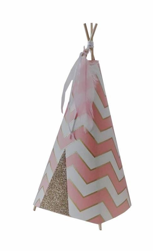 Tipi lamp chevron roze met roze veren