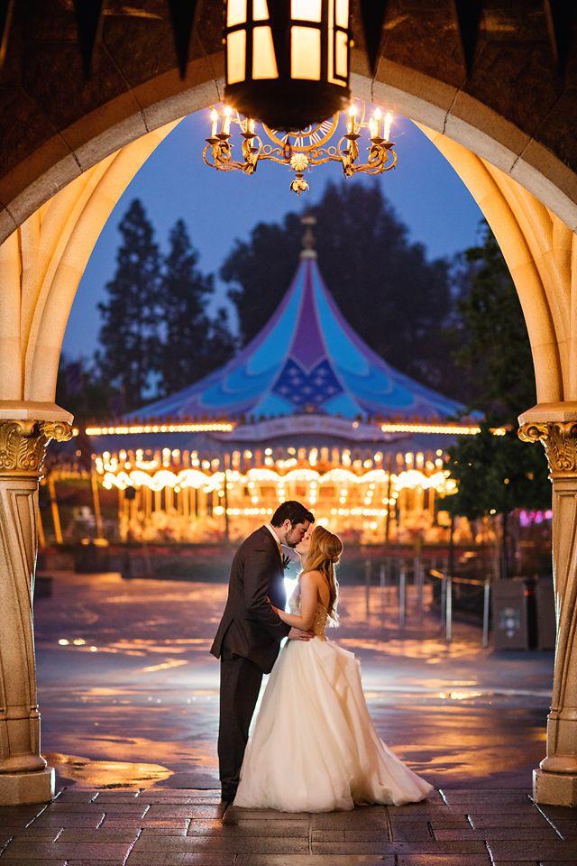 A Fairy Tale Kiss Beneath Sleeping Beauty Castle In Disneyland Photo Jenna White