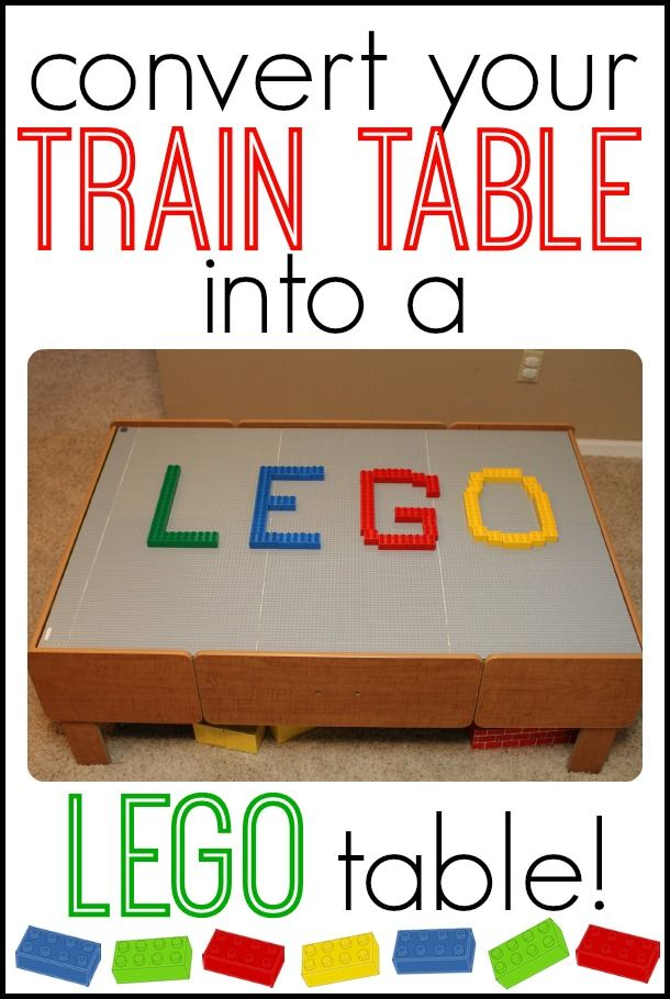 Repurpose a toddler train table into a LEGO table for bigger kids!!
