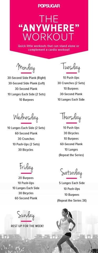 "One Week Workout Routine For Men and Women. You can Do This Workout Routine at the Gym or At Home (It's the ""Anywhere"" Workout)!"