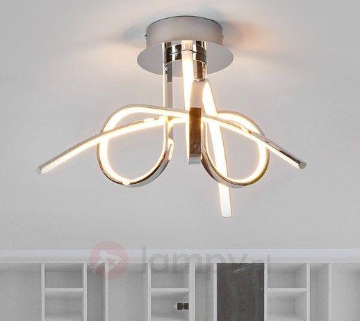 Skręcona lampa sufitowa LED Nayla, chrom